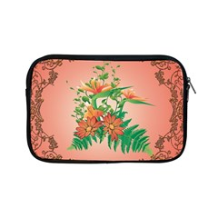 Awesome Flowers And Leaves With Floral Elements On Soft Red Background Apple iPad Mini Zipper Cases