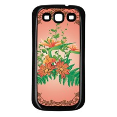 Awesome Flowers And Leaves With Floral Elements On Soft Red Background Samsung Galaxy S3 Back Case (Black)