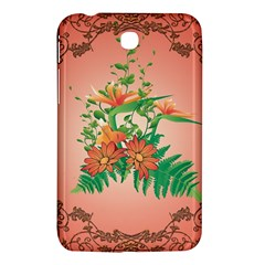 Awesome Flowers And Leaves With Floral Elements On Soft Red Background Samsung Galaxy Tab 3 (7 ) P3200 Hardshell Case