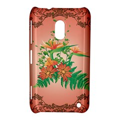 Awesome Flowers And Leaves With Floral Elements On Soft Red Background Nokia Lumia 620