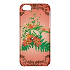 Awesome Flowers And Leaves With Floral Elements On Soft Red Background Apple iPhone 5C Hardshell Case