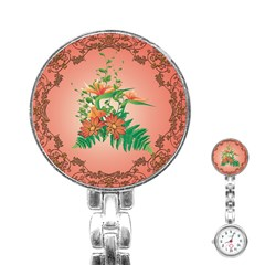 Awesome Flowers And Leaves With Floral Elements On Soft Red Background Stainless Steel Nurses Watches