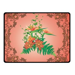 Awesome Flowers And Leaves With Floral Elements On Soft Red Background Double Sided Fleece Blanket (Small)