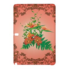 Awesome Flowers And Leaves With Floral Elements On Soft Red Background Samsung Galaxy Tab Pro 12 2 Hardshell Case