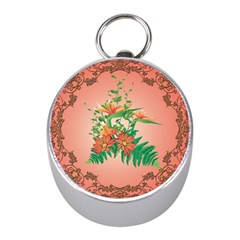 Awesome Flowers And Leaves With Floral Elements On Soft Red Background Mini Silver Compasses