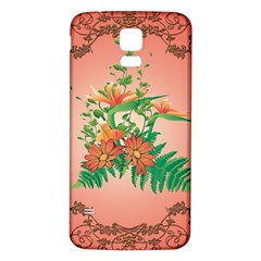 Awesome Flowers And Leaves With Floral Elements On Soft Red Background Samsung Galaxy S5 Back Case (White)