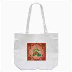 Awesome Flowers And Leaves With Floral Elements On Soft Red Background Tote Bag (White)