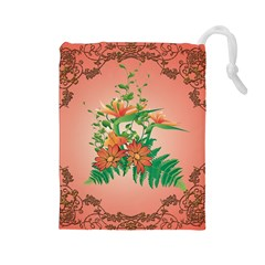 Awesome Flowers And Leaves With Floral Elements On Soft Red Background Drawstring Pouches (Large)