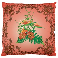 Awesome Flowers And Leaves With Floral Elements On Soft Red Background Large Flano Cushion Cases (Two Sides)