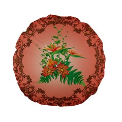 Awesome Flowers And Leaves With Floral Elements On Soft Red Background Standard 15  Premium Flano Round Cushions