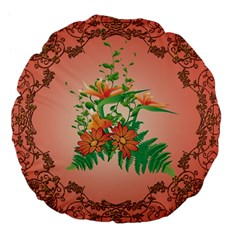 Awesome Flowers And Leaves With Floral Elements On Soft Red Background Large 18  Premium Flano Round Cushions