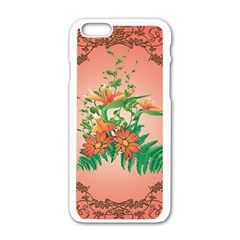 Awesome Flowers And Leaves With Floral Elements On Soft Red Background Apple iPhone 6/6S White Enamel Case