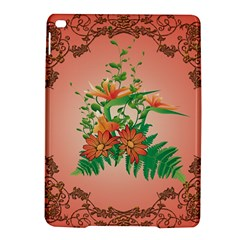Awesome Flowers And Leaves With Floral Elements On Soft Red Background iPad Air 2 Hardshell Cases