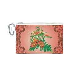 Awesome Flowers And Leaves With Floral Elements On Soft Red Background Canvas Cosmetic Bag (S)