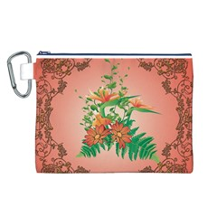 Awesome Flowers And Leaves With Floral Elements On Soft Red Background Canvas Cosmetic Bag (L)
