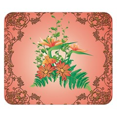Awesome Flowers And Leaves With Floral Elements On Soft Red Background Double Sided Flano Blanket (small)