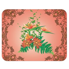 Awesome Flowers And Leaves With Floral Elements On Soft Red Background Double Sided Flano Blanket (medium)