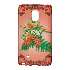 Awesome Flowers And Leaves With Floral Elements On Soft Red Background Galaxy Note Edge