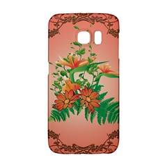 Awesome Flowers And Leaves With Floral Elements On Soft Red Background Galaxy S6 Edge
