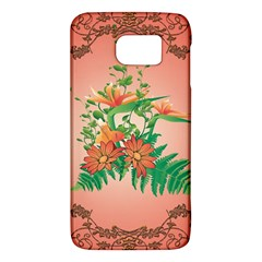 Awesome Flowers And Leaves With Floral Elements On Soft Red Background Galaxy S6