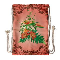 Awesome Flowers And Leaves With Floral Elements On Soft Red Background Drawstring Bag (large)
