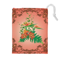 Awesome Flowers And Leaves With Floral Elements On Soft Red Background Drawstring Pouches (Extra Large)