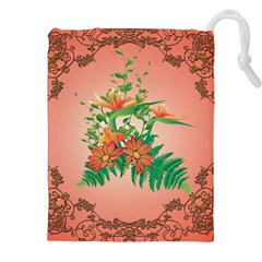 Awesome Flowers And Leaves With Floral Elements On Soft Red Background Drawstring Pouches (xxl)