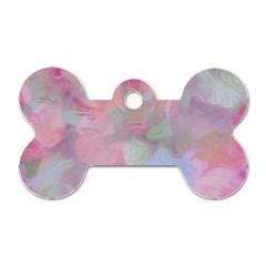 Soft Floral Pink Dog Tag Bone (One Side)