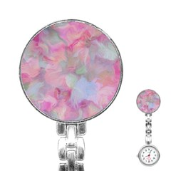 Soft Floral Pink Stainless Steel Nurses Watches