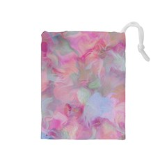 Soft Floral Pink Drawstring Pouches (Medium)