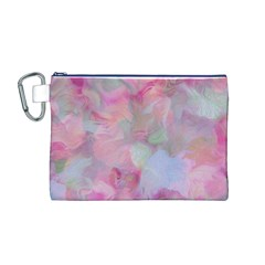 Soft Floral Pink Canvas Cosmetic Bag (M)