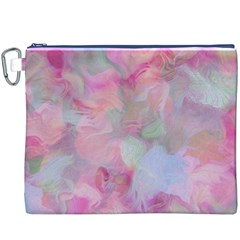 Soft Floral Pink Canvas Cosmetic Bag (XXXL)