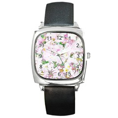 Soft Floral, Spring Square Metal Watches