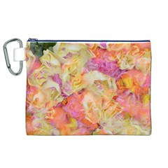 Soft Floral,roses Canvas Cosmetic Bag (XL)