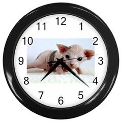 Sphynx Kitten Wall Clocks (Black)