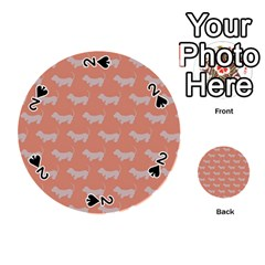 Cute Dachshund Pattern In Peach Playing Cards 54 (round)