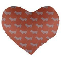 Cute Dachshund Pattern in Peach Large 19  Premium Heart Shape Cushions