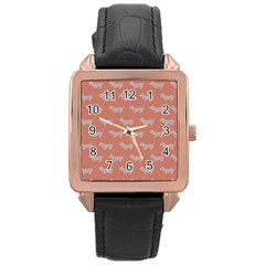 Cute Dachshund Pattern In Peach Rose Gold Watches