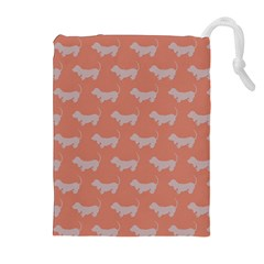 Cute Dachshund Pattern in Peach Drawstring Pouches (Extra Large)