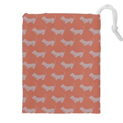 Cute Dachshund Pattern In Peach Drawstring Pouches (xxl)