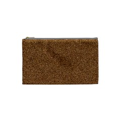 DARK BROWN SAND TEXTURE Cosmetic Bag (Small)