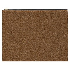 DARK BROWN SAND TEXTURE Cosmetic Bag (XXXL)