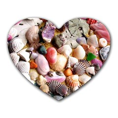 Colorful Sea Shells Heart Mousepads