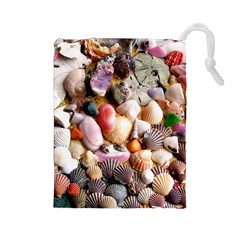 COLORFUL SEA SHELLS Drawstring Pouches (Large)