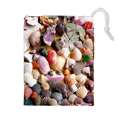COLORFUL SEA SHELLS Drawstring Pouches (Extra Large)