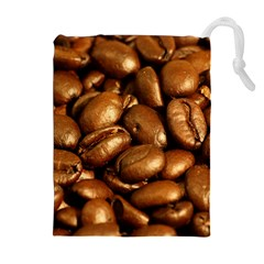 CHOCOLATE COFFEE BEANS Drawstring Pouches (Extra Large)