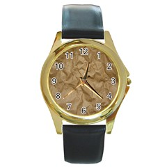 BROWN PAPER Round Gold Metal Watches