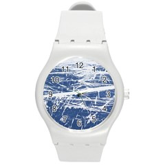 BLUE AND WHITE ART Round Plastic Sport Watch (M)