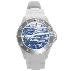 BLUE AND WHITE ART Round Plastic Sport Watch (L)