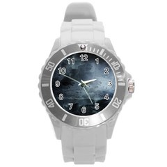 BLACK SPLATTER Round Plastic Sport Watch (L)